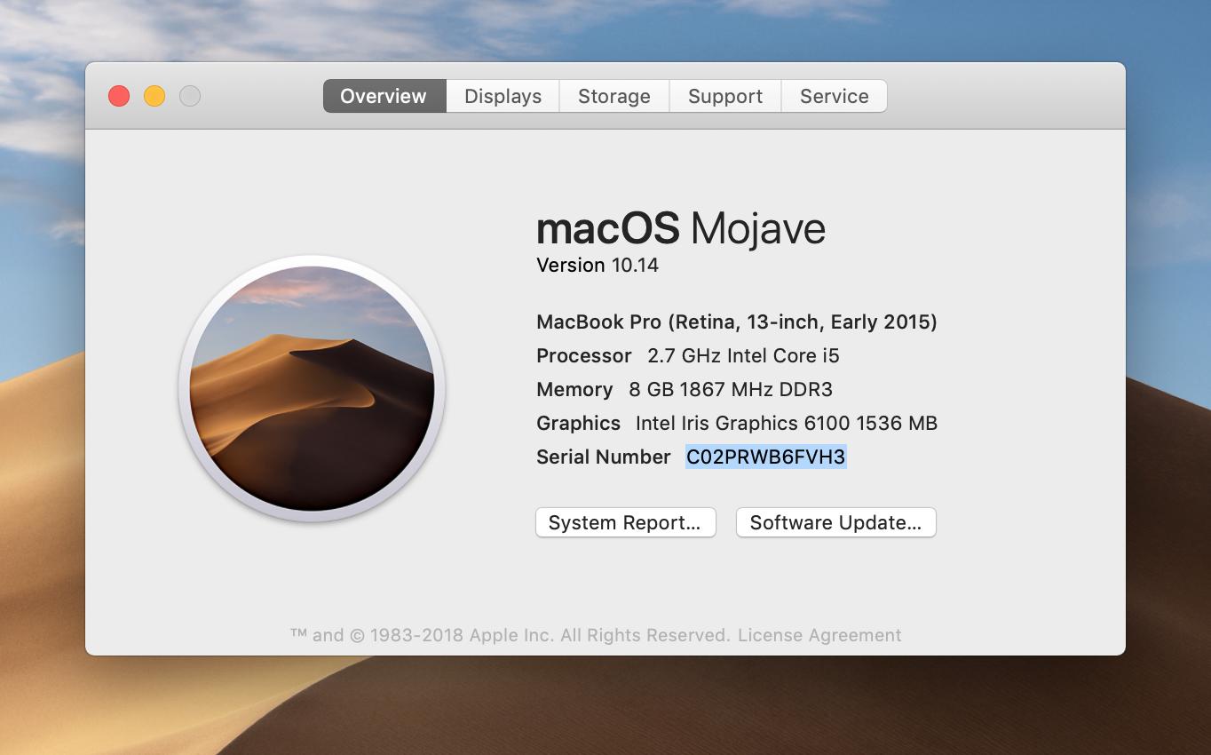 find apple macbook air serial number
